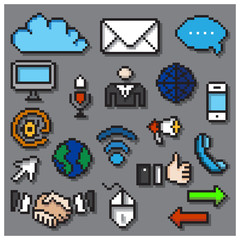 Digital Pixel Communication Icons Set