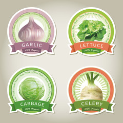 . Set of vector labels with vegetables and spices