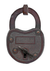 vintage copper padlock with key