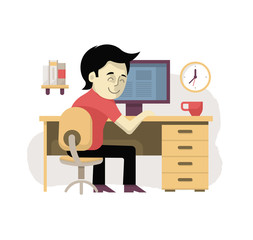 Freelancer at His Workplace