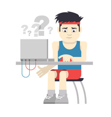 Athlete Sitting at the Computer