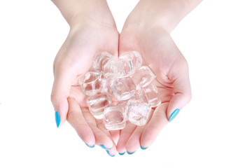 closeup Woman hand holding ice cubes isolated on the white