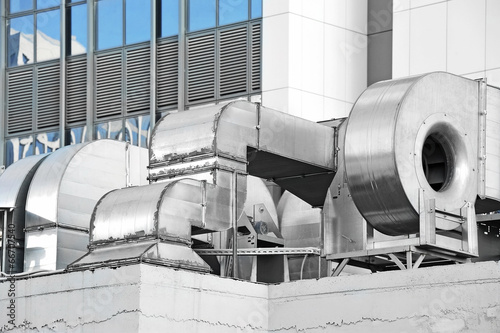 Industrial air conditioning and ventilation systems on a roof - 66707540