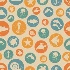 Marine life seamless pattern.