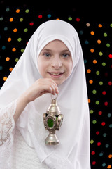 Beautiful Muslim Girl in White Hejab Holding Ramadan Lantern