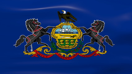 Waving Pennsylvania State Flag, ready for seamless loop.
