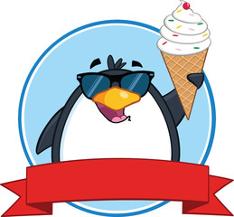 Smiling Penguin With Sunglasses And Ice Cream Circle Banner