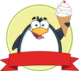 Smiling Penguin With Ice Cream Circle Banner
