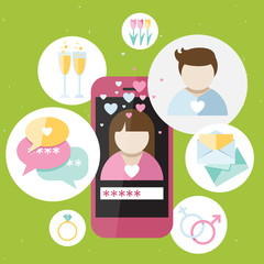 Pink phone with dating icons