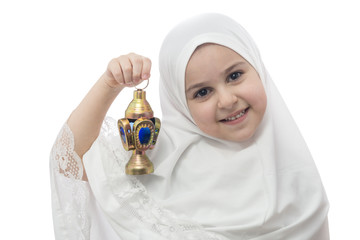 Young Girl in White Hejab with Ramadan Lantern