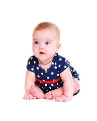 baby girl wearing playsuit on white background