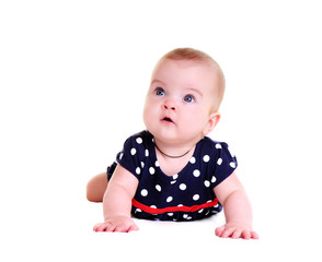 front view portrait of a baby girl wearing playsuit