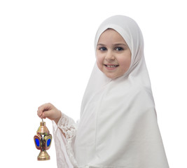 Young Muslim Girl in Hejab with Ramadan Lantern