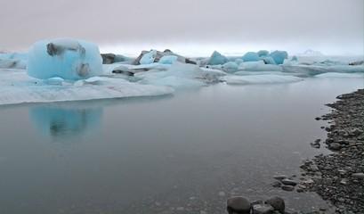 Blue icebergs floating in the Jokulsarlon lagoon, Iceland.