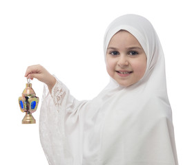 Young Muslim Girl in White Hejab with Lantern