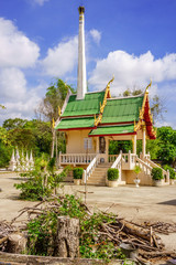 Thai crematorium building in graveyard of temple area