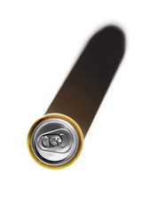 Yellow can of beer and its shadow on a white background