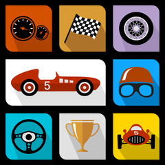 Racing flat icons