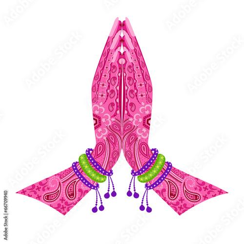 Fototapeta Indian Hand in greeting posture