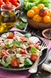 vegetable salad with feta cheese, vertical