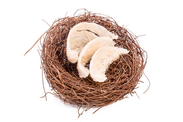 Edible Bird's nest in the bird's nest, isolated on white