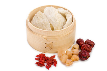Steamed bird's nest and red jujube and conpoy isolated on white