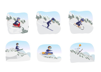 Winter Sports - Isolated On White Background