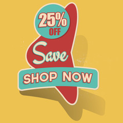 Retro 25% Off Save - Shop Now Sticker