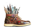 Leinwanddruck Bild - Travel, shoes with travel stickers and landmarks