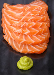 Cut raw salmon fat (salmon sashimi)