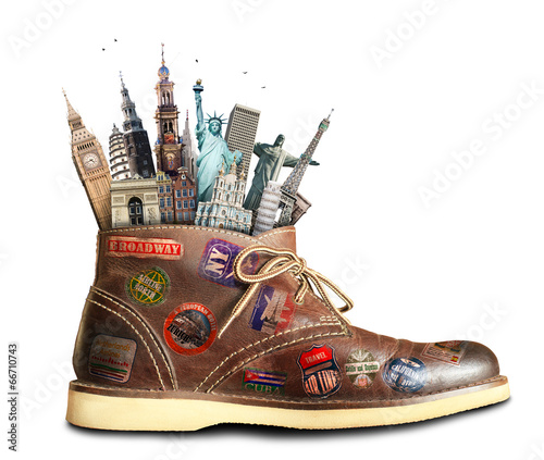 Leinwanddruck Bild Travel, shoes with travel stickers and landmarks