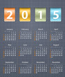 Stylish calendar for 2015 on linen texture with leather insertio