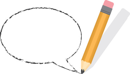 Empty speech bubble drawn with pencil