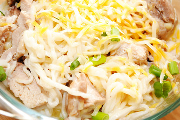 Cheesy Chicken and Ramen Noodles with Scallions