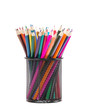 Leinwandbild Motiv Drawing supplies: assorted color pencils, isolated on white back