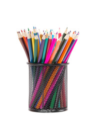 Drawing supplies: assorted color pencils, isolated on white back