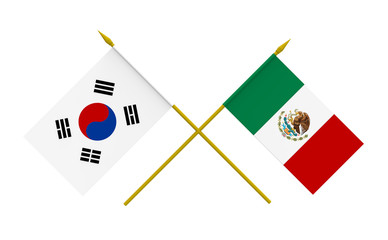 Flags, Mexico and Republic of Korea