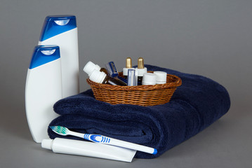 Shampoo, gel, cosmetics set in basket