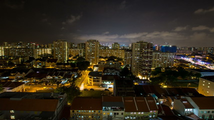 Time lapse of night scene and clouds at Joo Chiat in Singapore