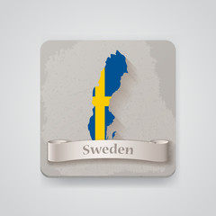 Icon of Sweden map with flag. Vector illustration