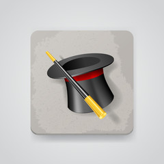 Magic hat and wand, vector icon