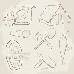 Camping hand drawn vector icons