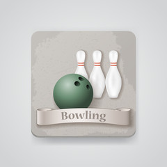 Skittles and ball for bowling game vector icon.