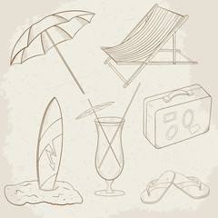 Summer Holiday Vector Hand Drawn Icons