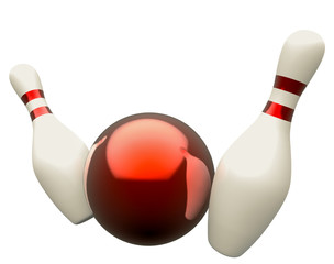 Bowling ball crashing into the skittles