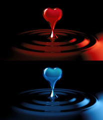 falling heart shaped water drop into the water