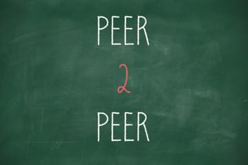 Peer 2 peer handwritten on blackboard