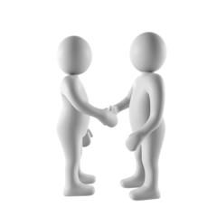 3d men shake hands