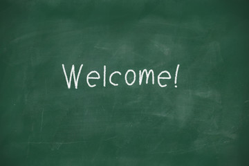 Welcome handwritten on blackboard