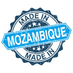 made in Mozambique vintage stamp isolated on white background
